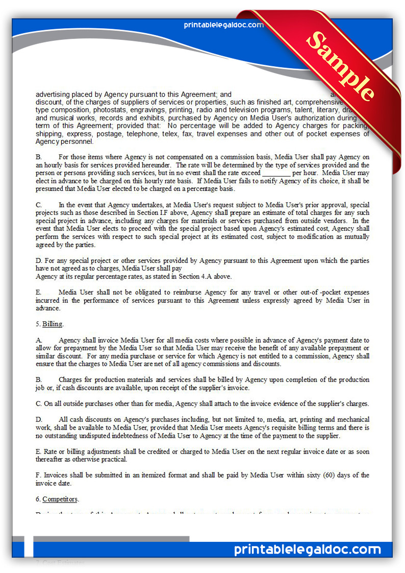 free printable ad or media agency agreement form  generic