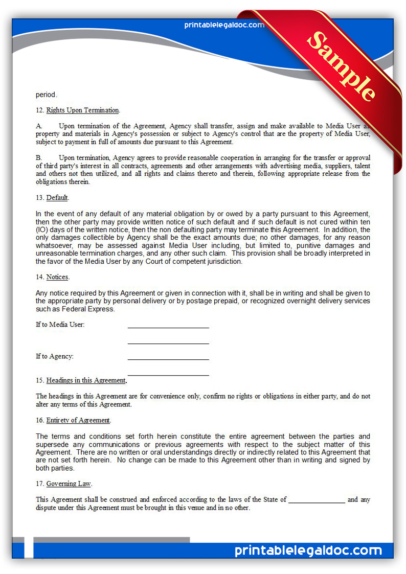Free Printable Ad Or Media Agency Agreement Form