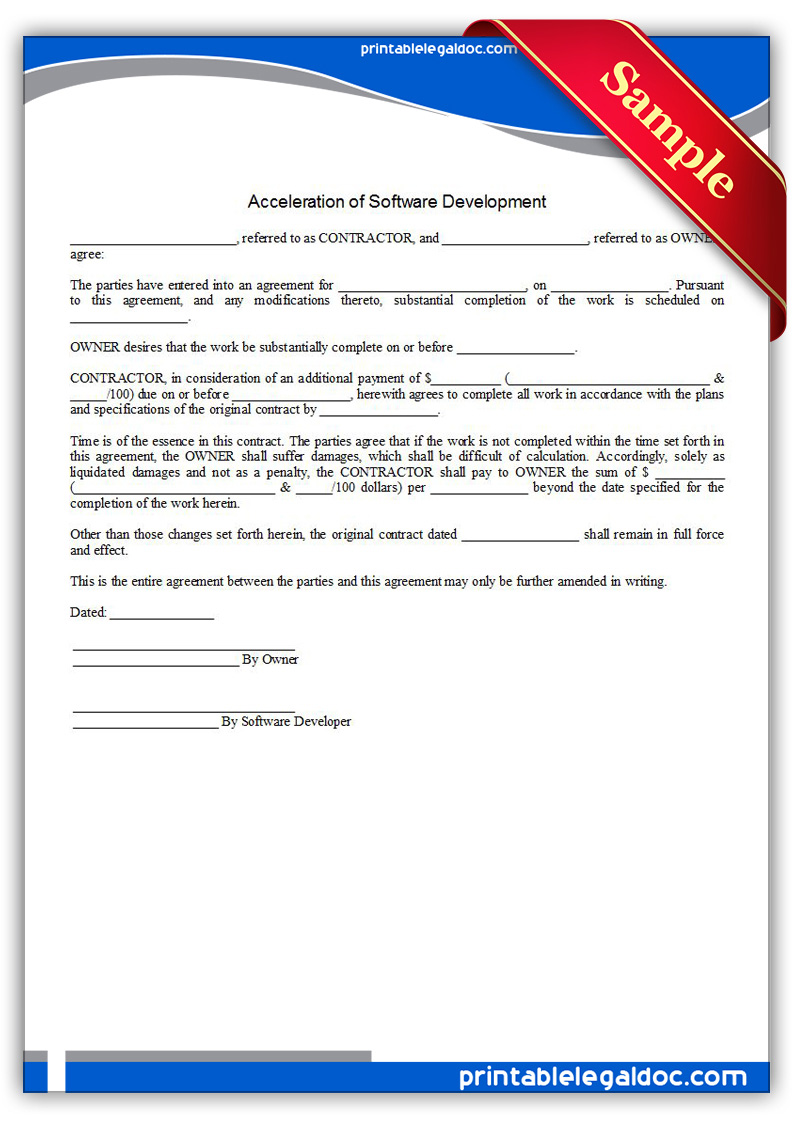 Free Printable Acceleration Of Software Development Form