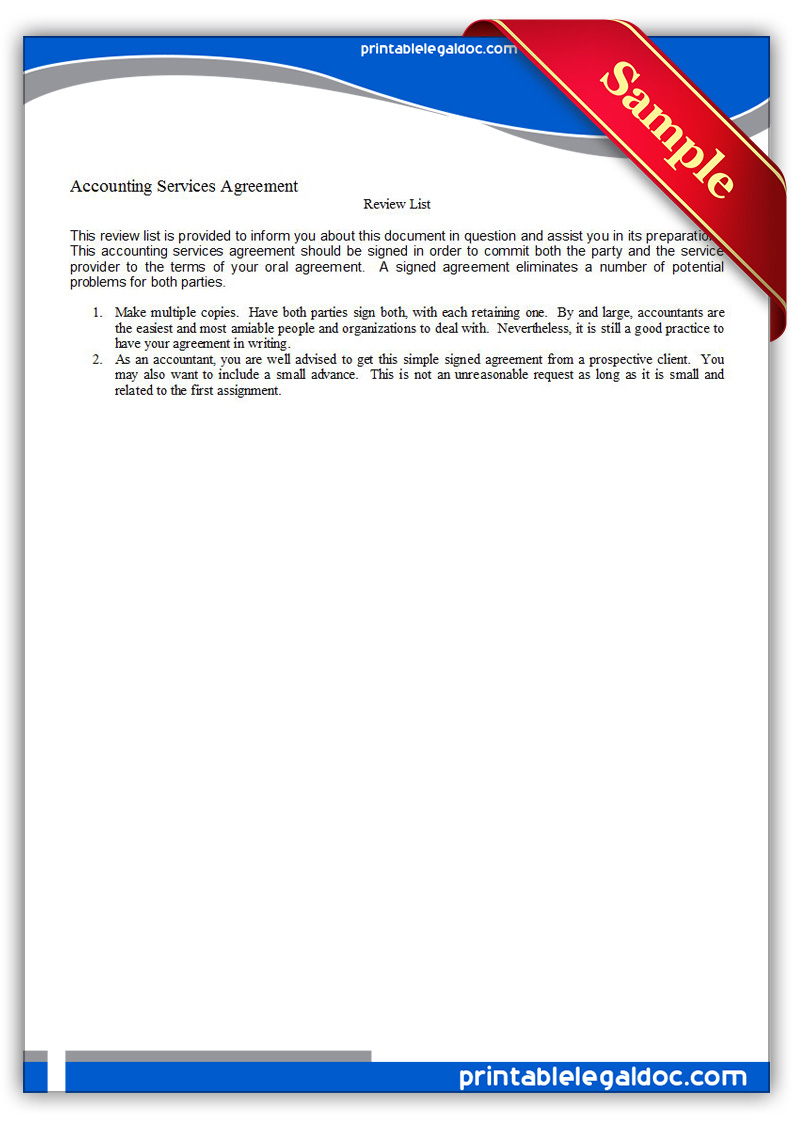 Free Printable Accounting Services Agreement Form