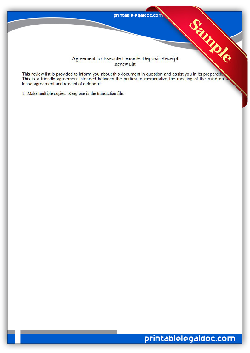 Free Printable Agreement To Execute Lease and Deposit Receipt Form