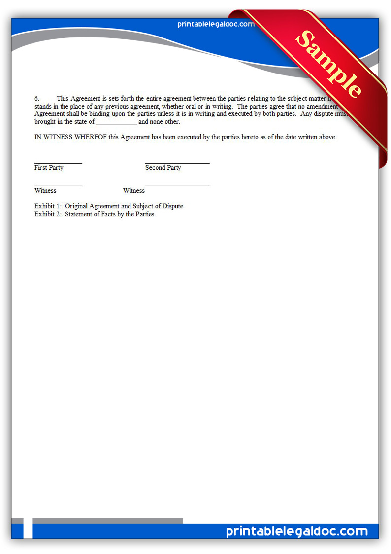 Free Printable Arbitration Or Mediation Agreement Form