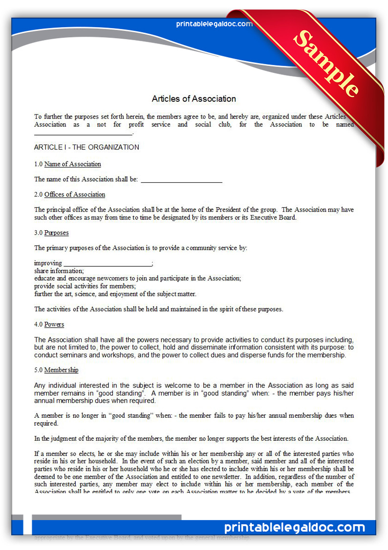 Free Printable Articles Of Association Form Generic
