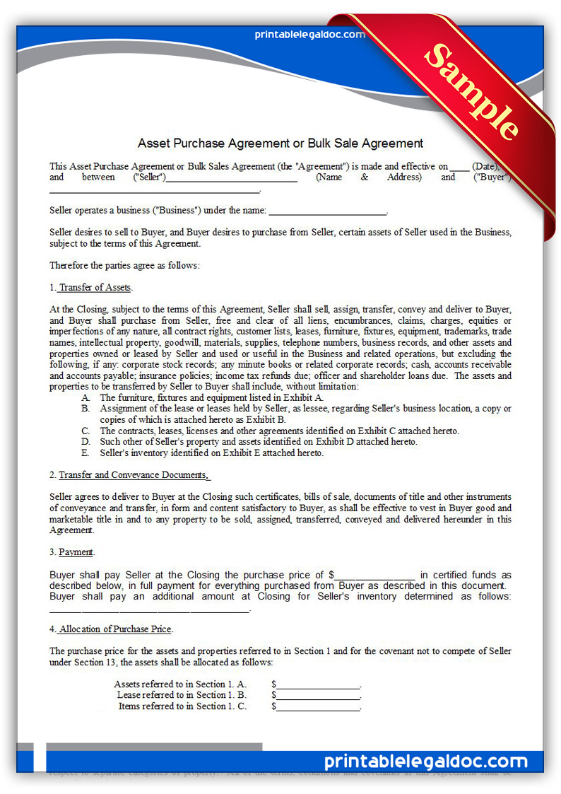 Free Printable Asset Purchase Agreement Form GENERIC – Asset Purchase Agreements