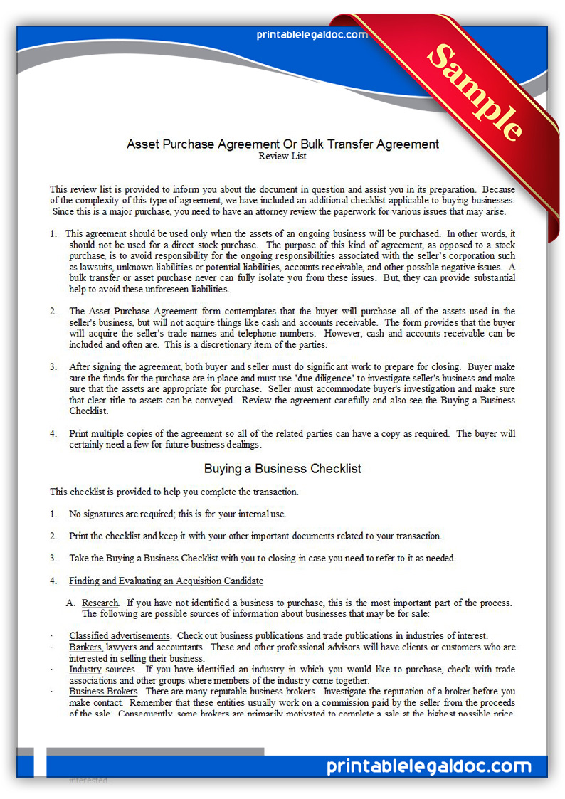 Free Printable Asset Purchase Agreement Form GENERIC – Printable Purchase Agreement