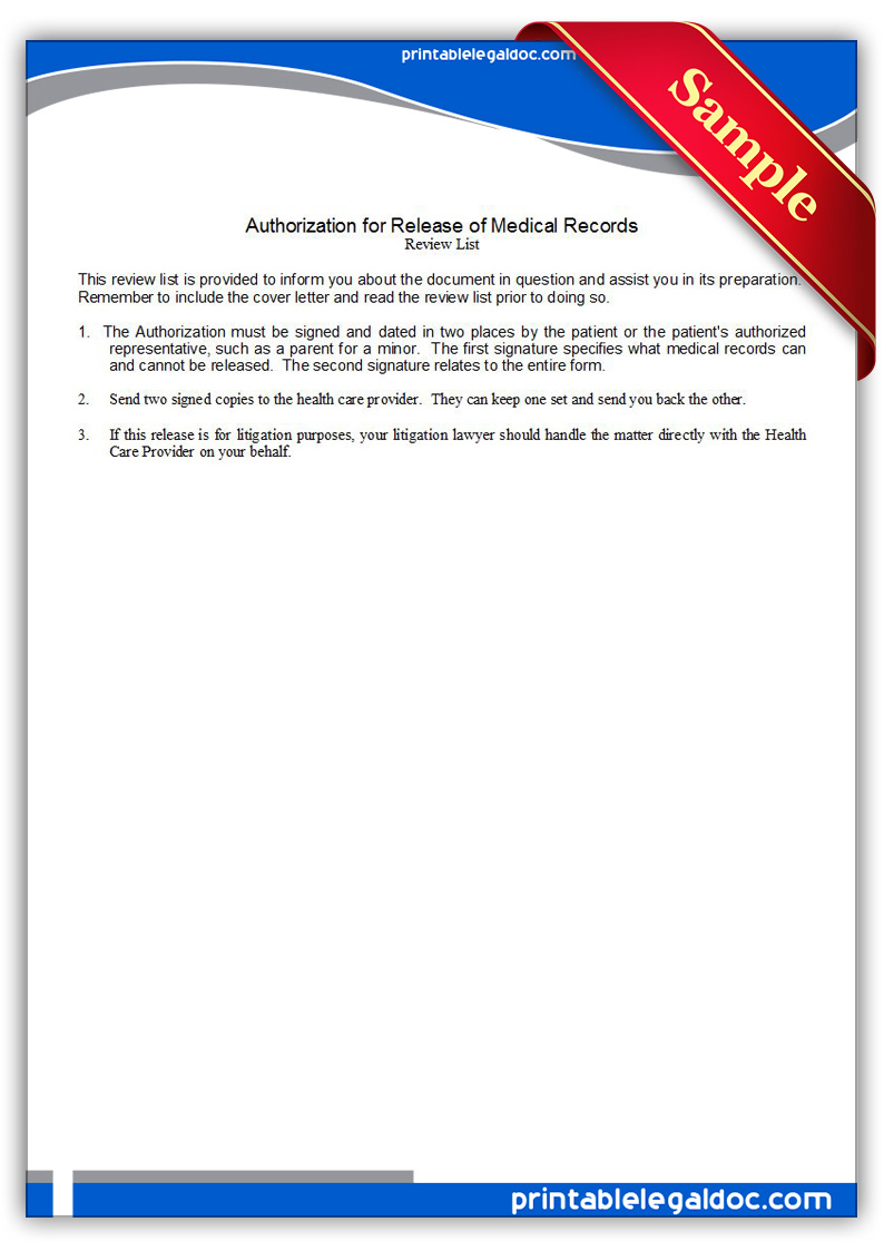 Free Printable Authorization For Release Of Medical Records Form