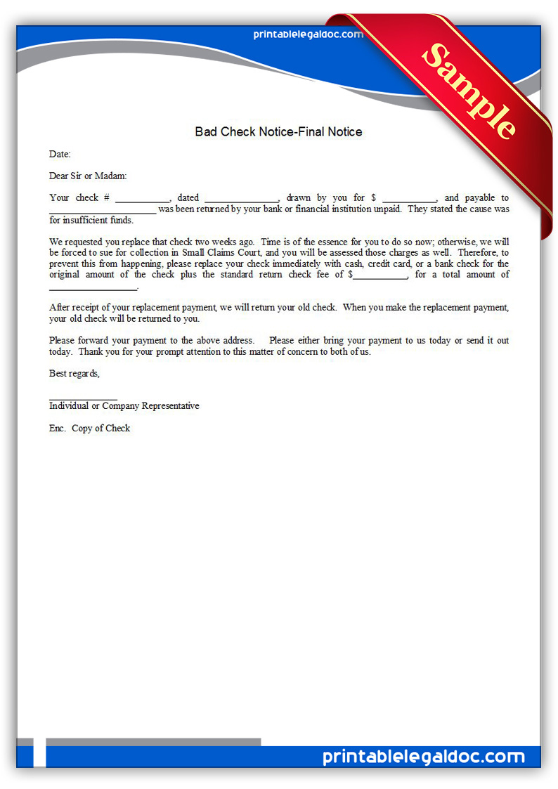 Free Bad Check Collection Letter