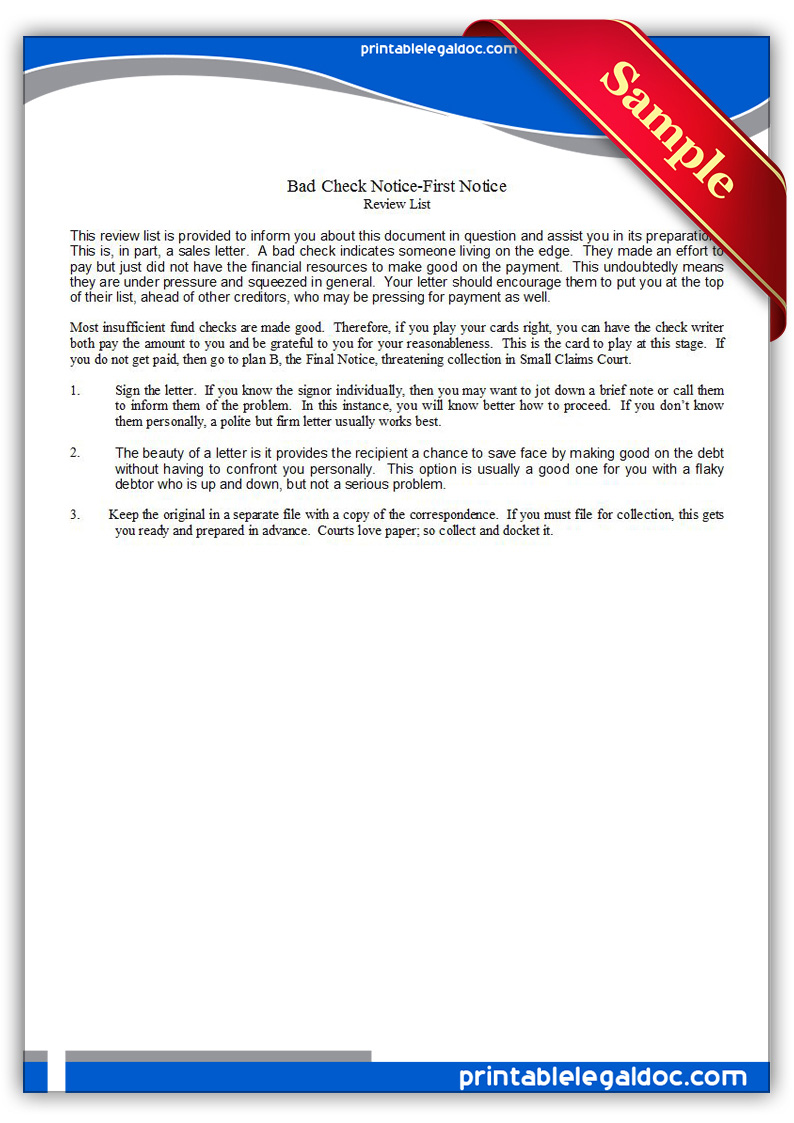 free printable bad check notice first notice form