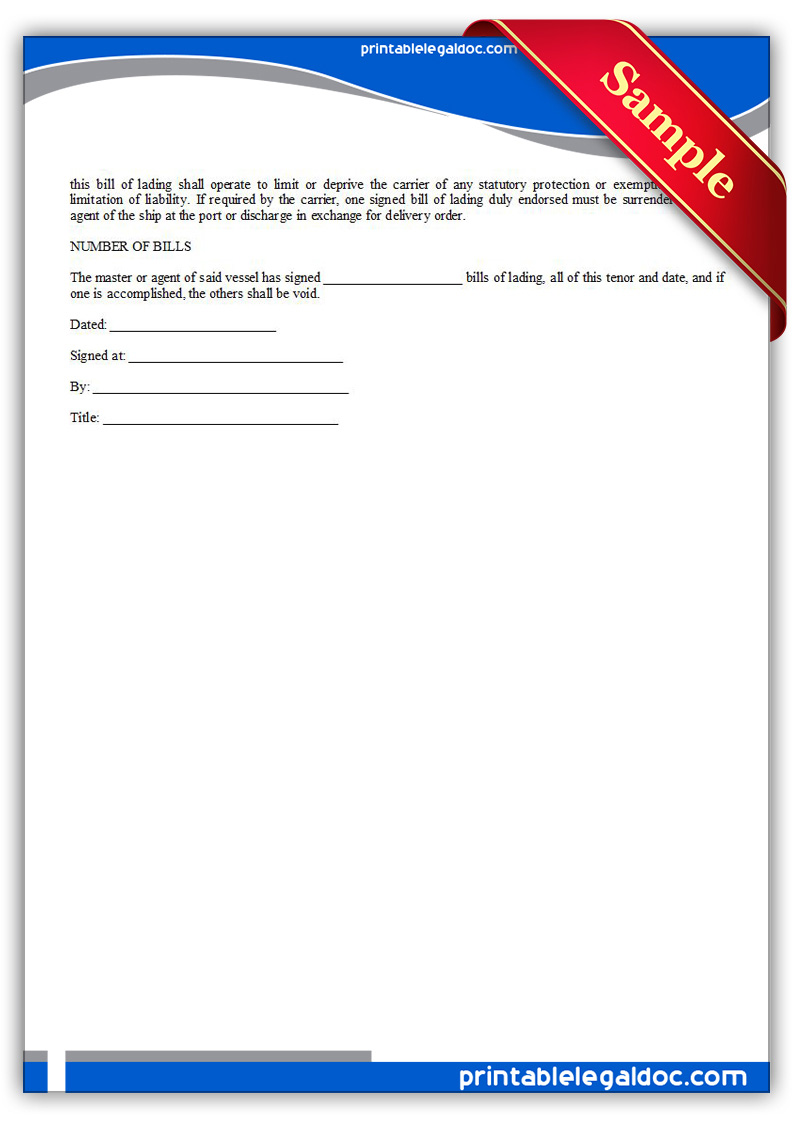 Free Printable Bill Of Lading Form