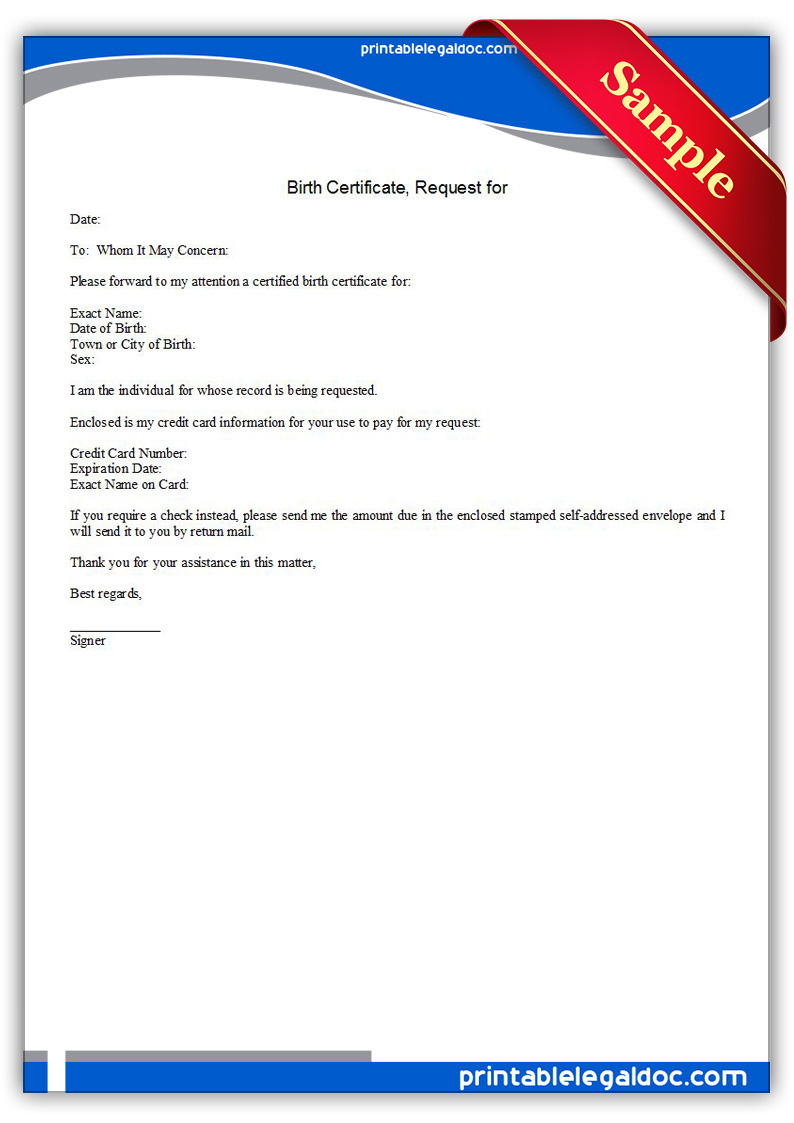 Free Printable Request For Birth Certificate Form Generic