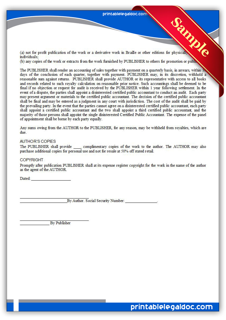 Free Printable Book Publication, Agreement Form