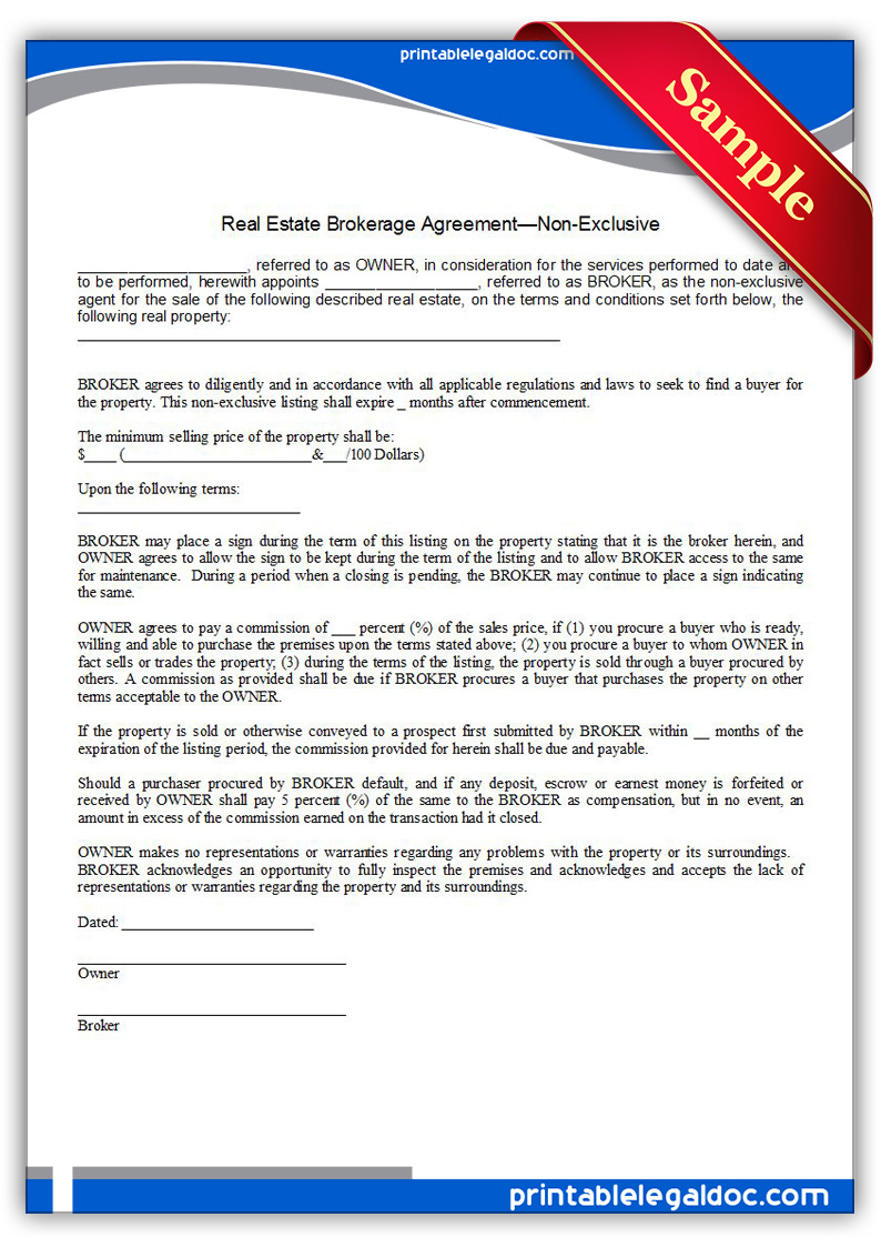 free printable real estate brokerage agreement non exclusive form generic. Black Bedroom Furniture Sets. Home Design Ideas