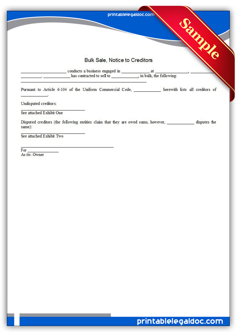 Free Printable Bulk Sale, Notice To Creditors Form