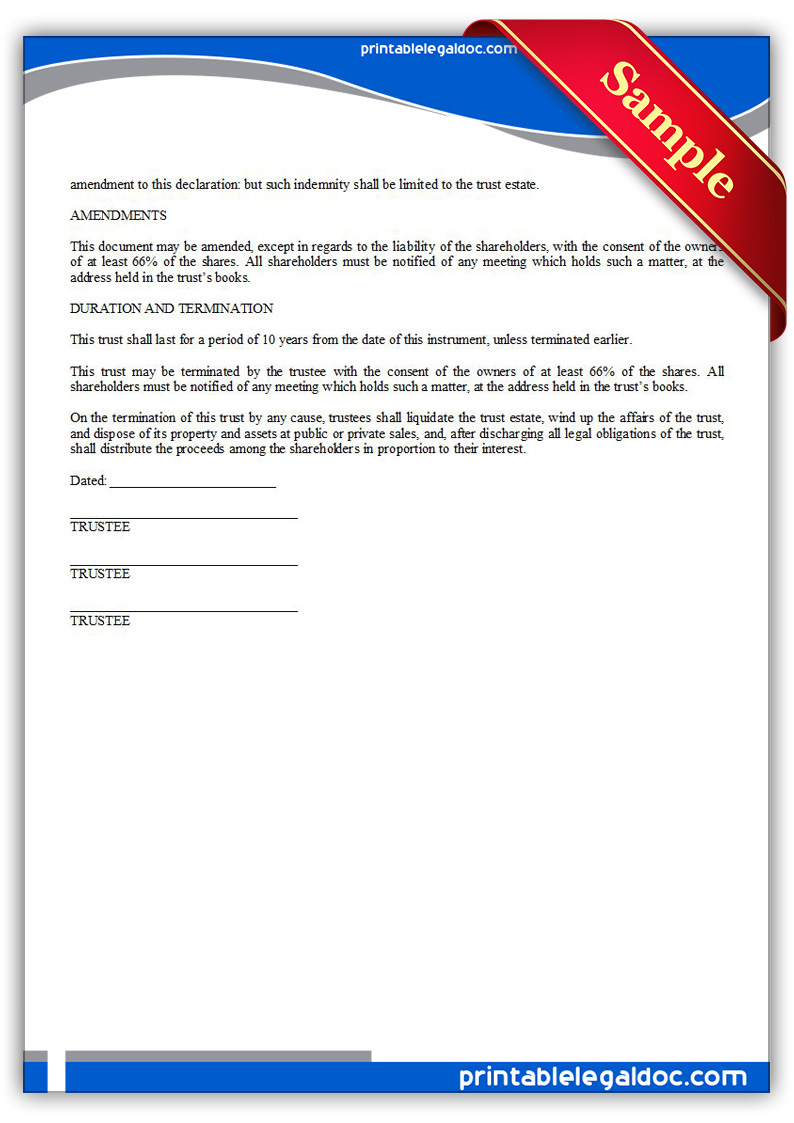 free printable business trust form  generic