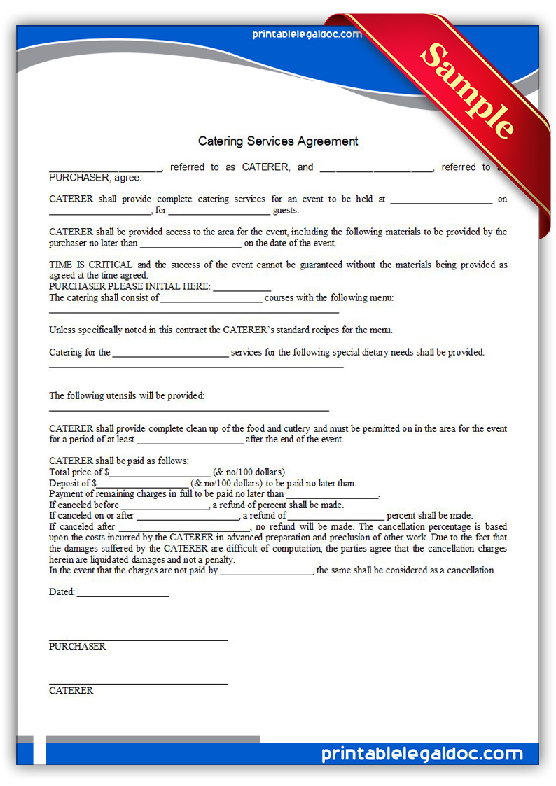free printable catering services agreement form generic. Black Bedroom Furniture Sets. Home Design Ideas