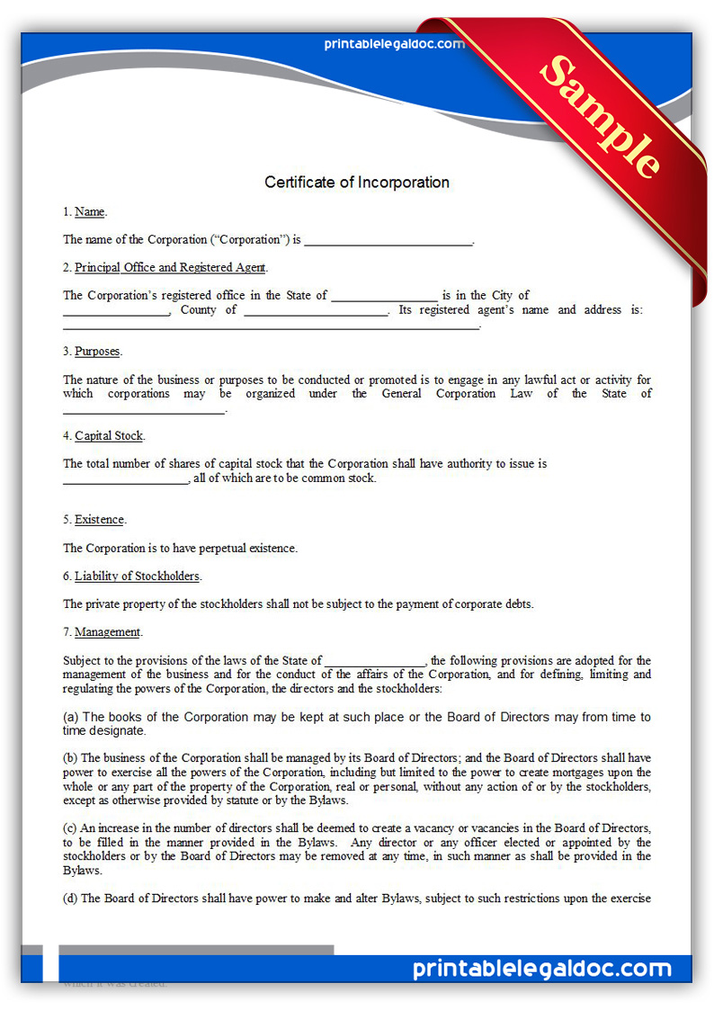 Free Printable Certificate Of Incorporation Form Generic