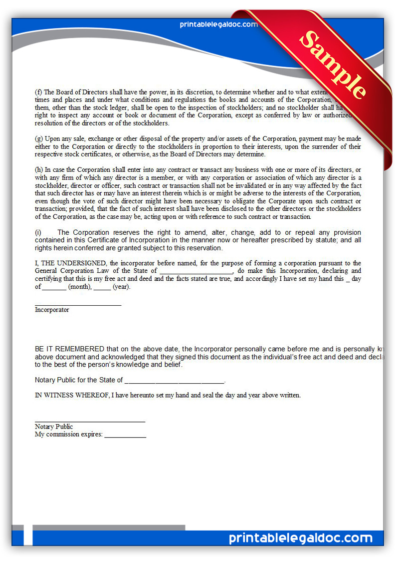 Free Printable Certificate Of Incorporation Form