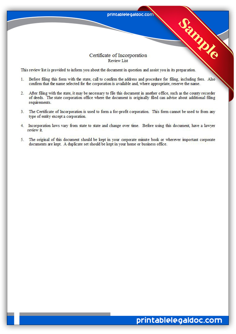 Free Printable Certificate Of Incorporation Form (GENERIC)
