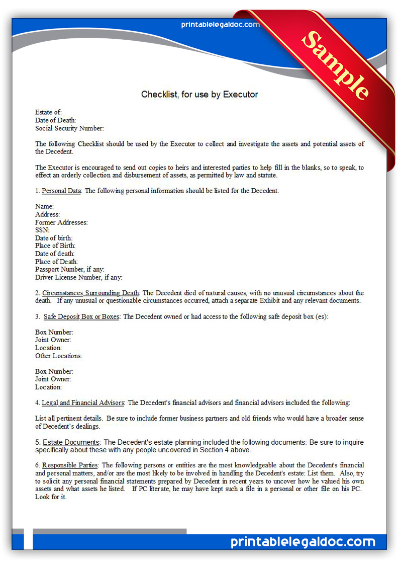 Free Printable Checklist, For Use By Executor Form