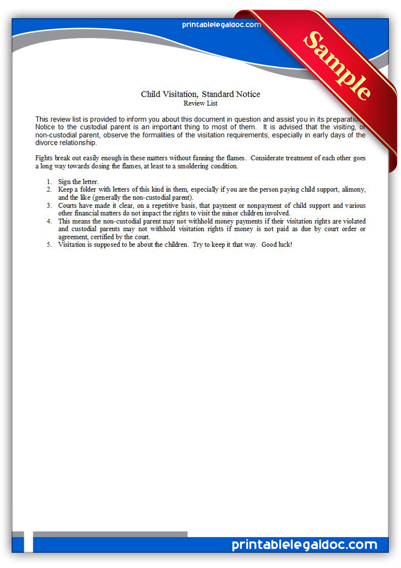 software license certificate template - free printable child visitation standard notice form