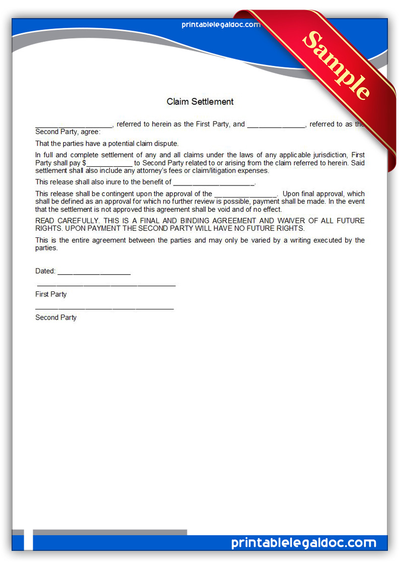 Free Printable Claim Settlement Form