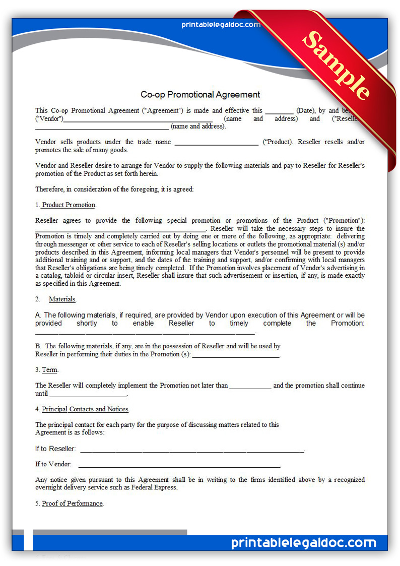 free printable co op promotional agreement form generic. Black Bedroom Furniture Sets. Home Design Ideas