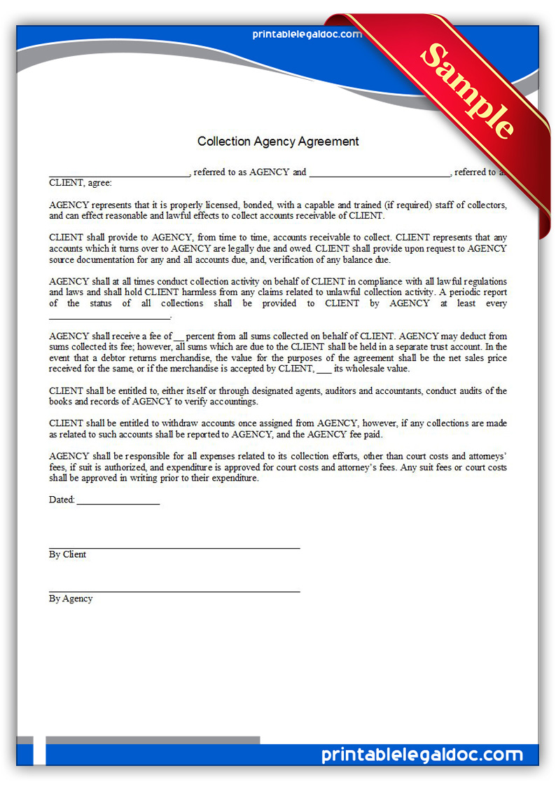free printable collection agency agreement form  generic