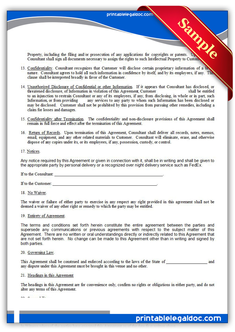 Free Printable Consulting Agreement Form