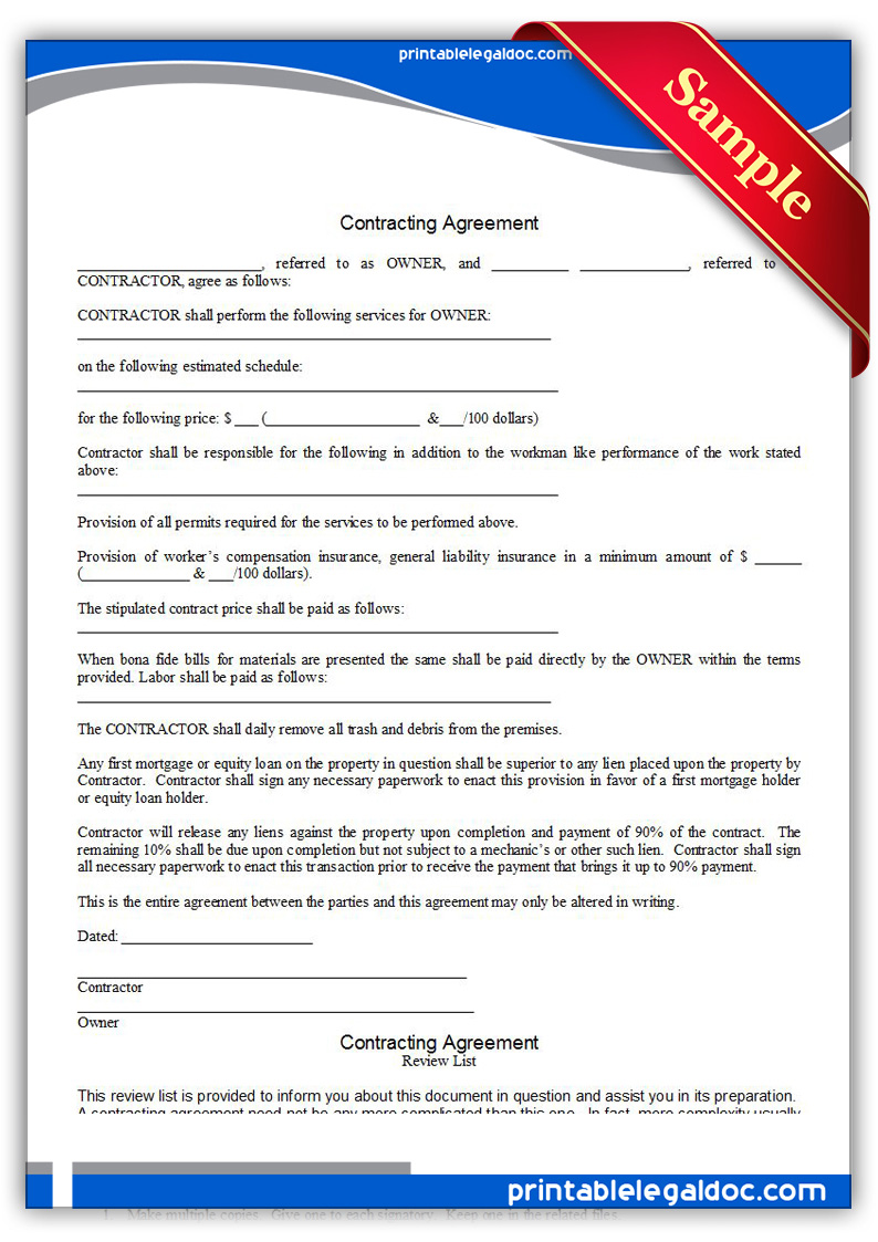 Free Printable Contracting Agreement Form