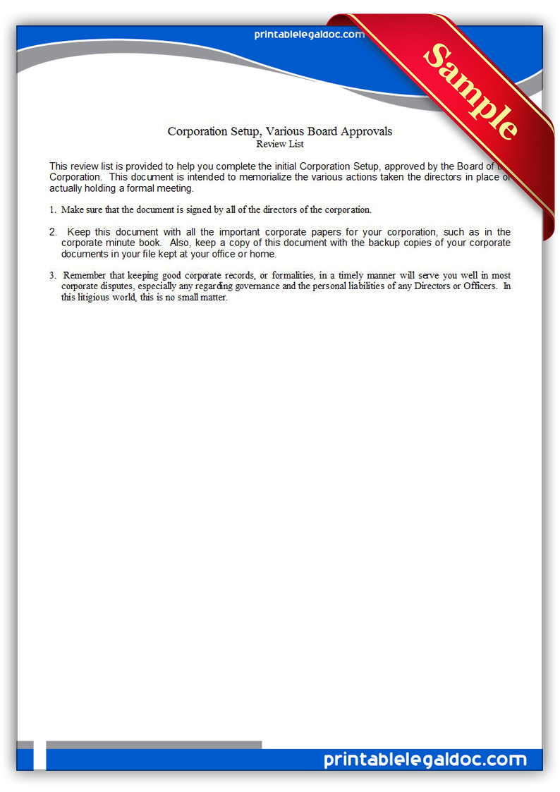 Free Printable Corporation Setup, Various Board Approvals Form