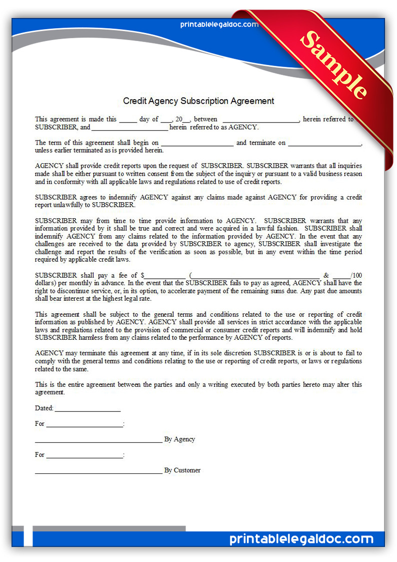 Free Printable Credit Agency Subscription Agreement Form