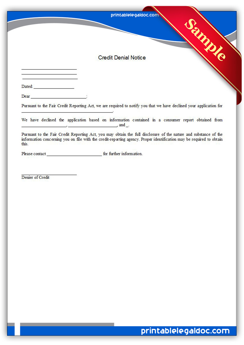 Free Printable Credit Denial Notice Form