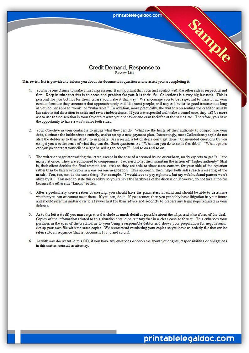 Free Printable Creditor Demand, Response To One Form