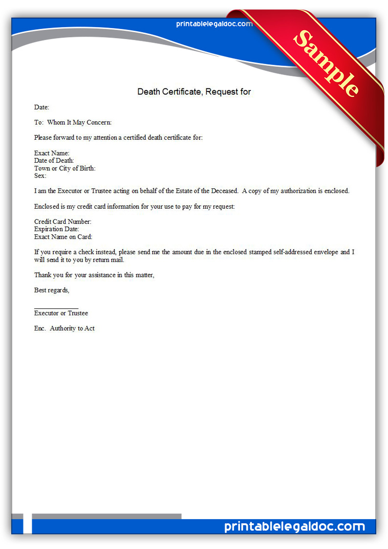 Free Printable Death Certificate Request For Form Generic