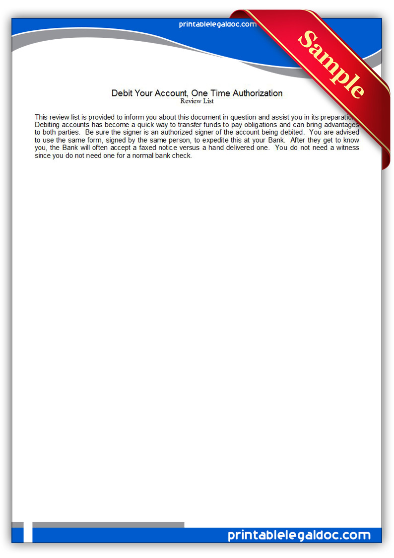 Free Printable Debit Your Account, One Time Authorization ...