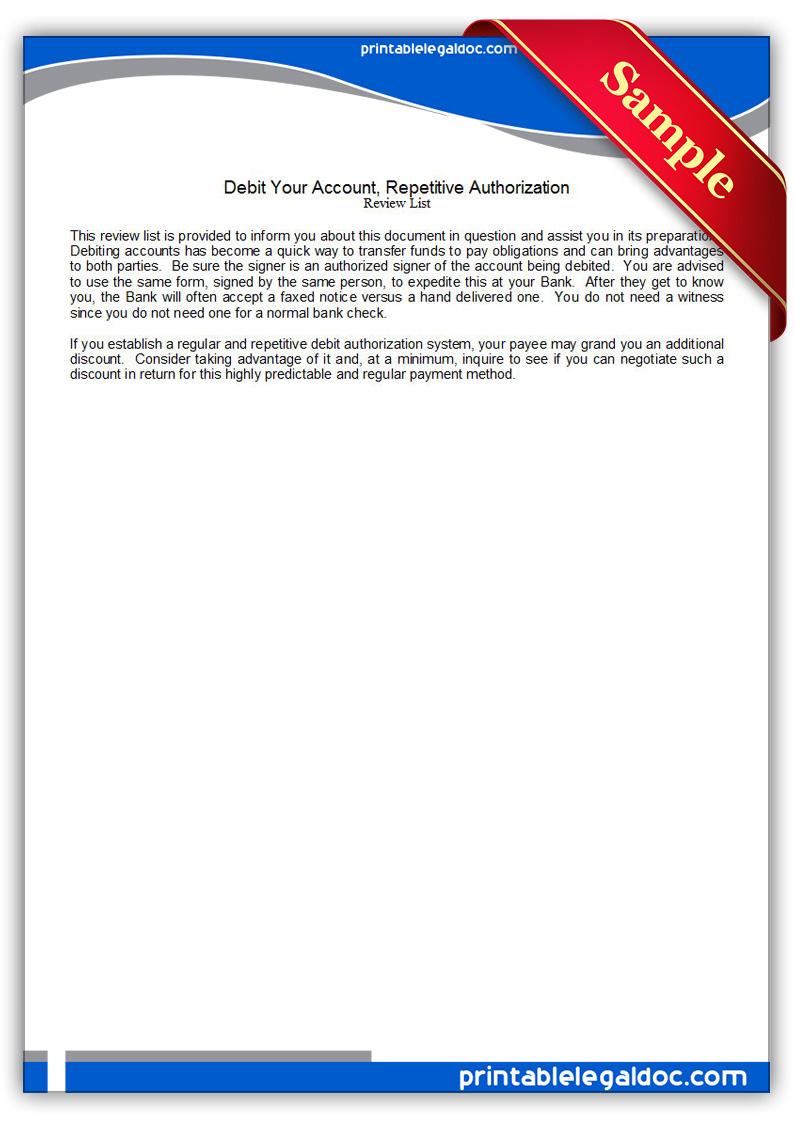 Free Printable Debit Your Account, Repetitive Authorization Form