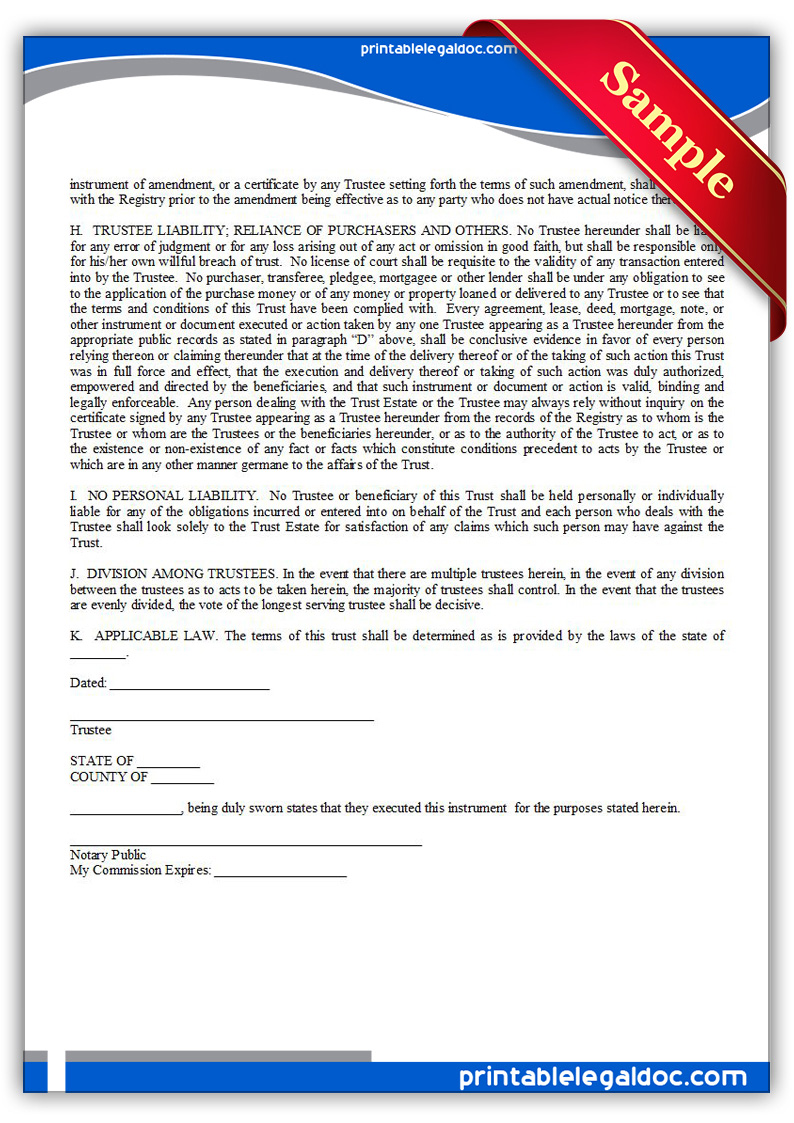 free printable declaration of nominee trust form  generic