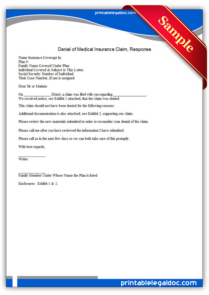 Free Printable Denial Of Medical Insurance Claim, Response Form