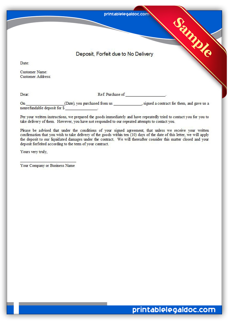 Free Printable Deposit, Forfeit Due To No Delivery Form