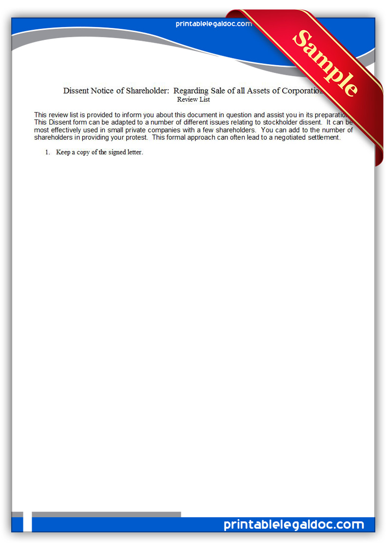 Free Printable Dissent Notice Of Shareholder Regarding Sale Of All Assets O Form