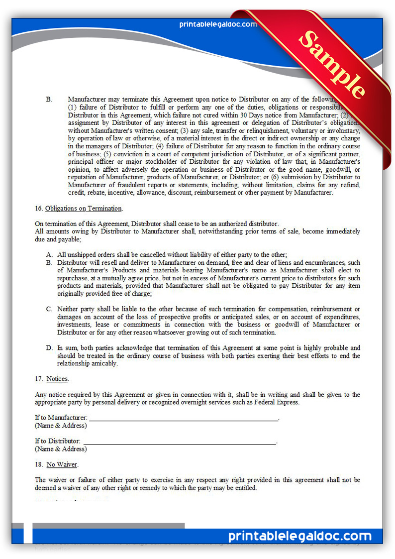 Free Printable Distributor Agreement, Exclusive Form