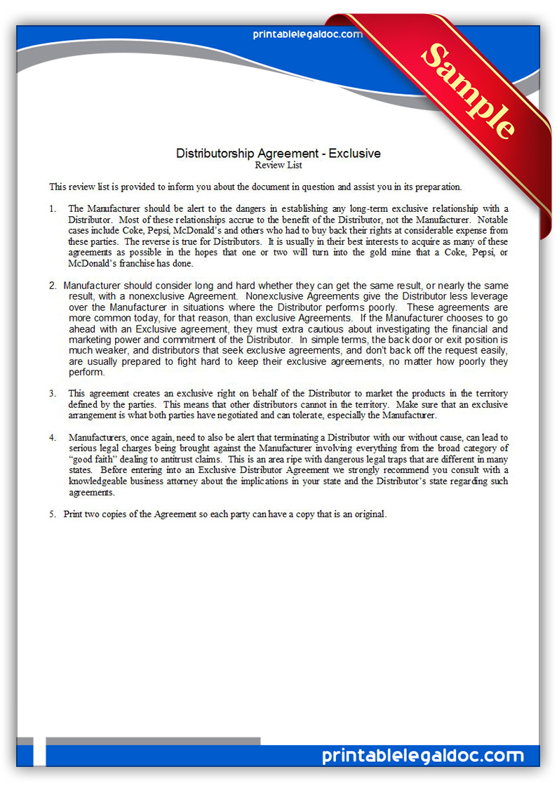 Free Printable Distributor Agreement Exclusive Form Generic