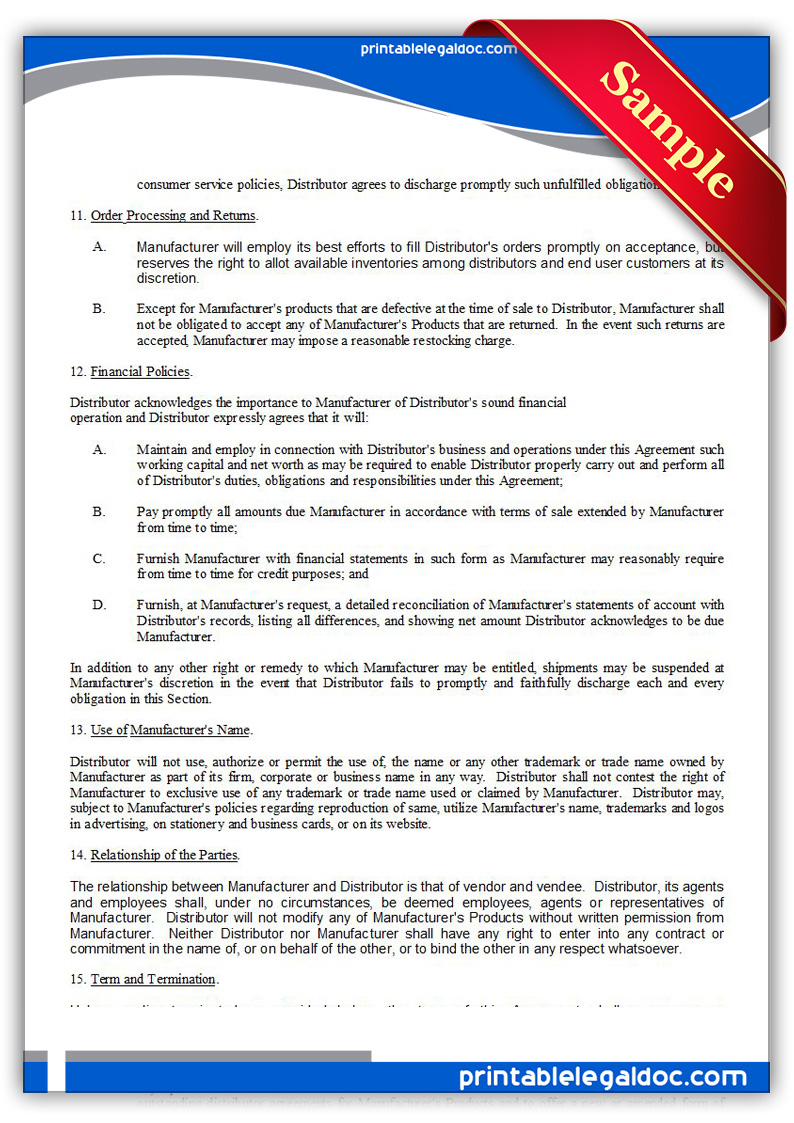 Free Printable Distributor Agreement, Nonexclusive Form