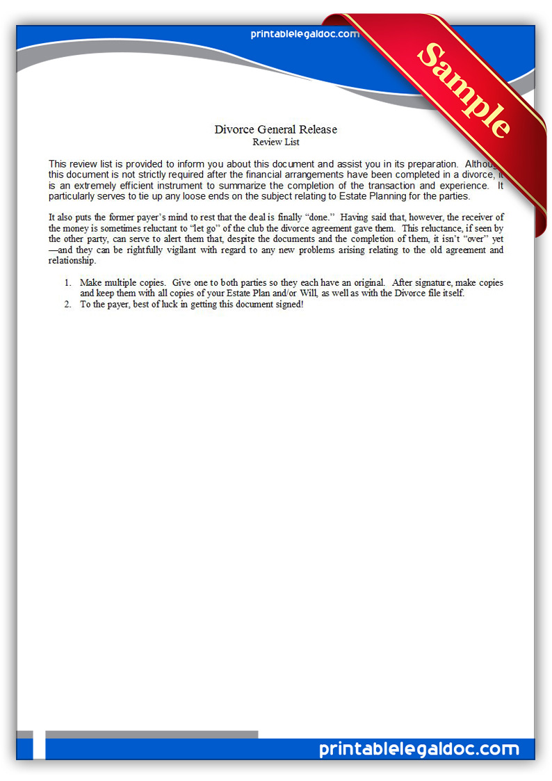 picture about Free Printable Estate Planning Forms known as Cost-free Printable Divorce Overall Launch Type (GENERIC)
