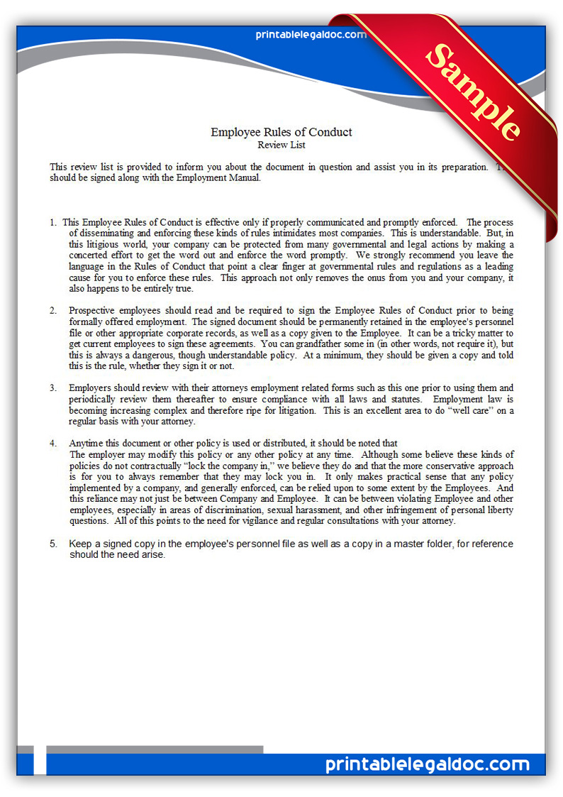 Free Printable Employee Rules Of Conduct Form