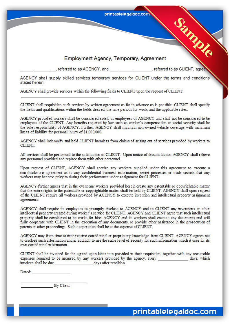 Free Printable Employment Agency, Temporary, Agreement Form