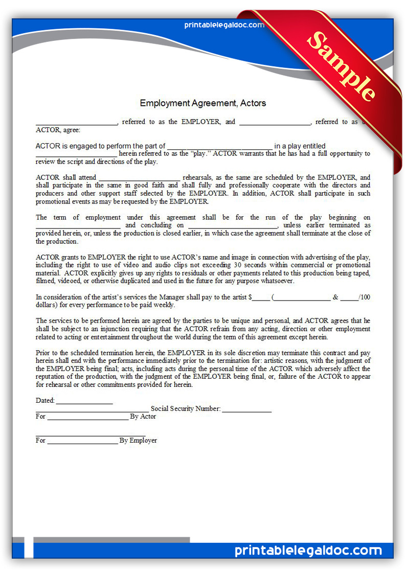 Free printable employment agreement actors form generic for Acting contract template
