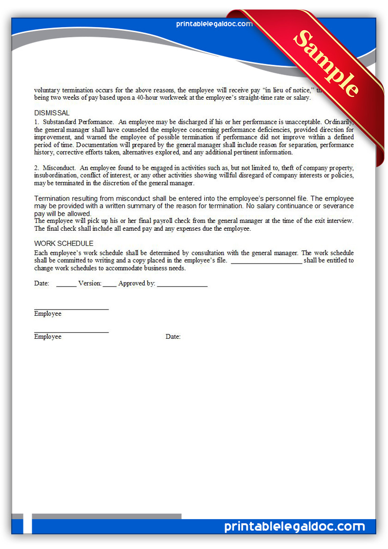 Free Printable Employment Manual Amp Employee Signature Form