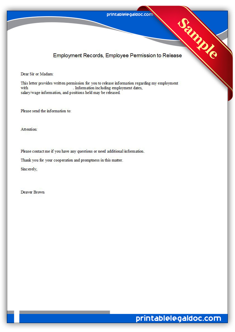 Free Printable Employment Records, Employee Permission To Release Form ...