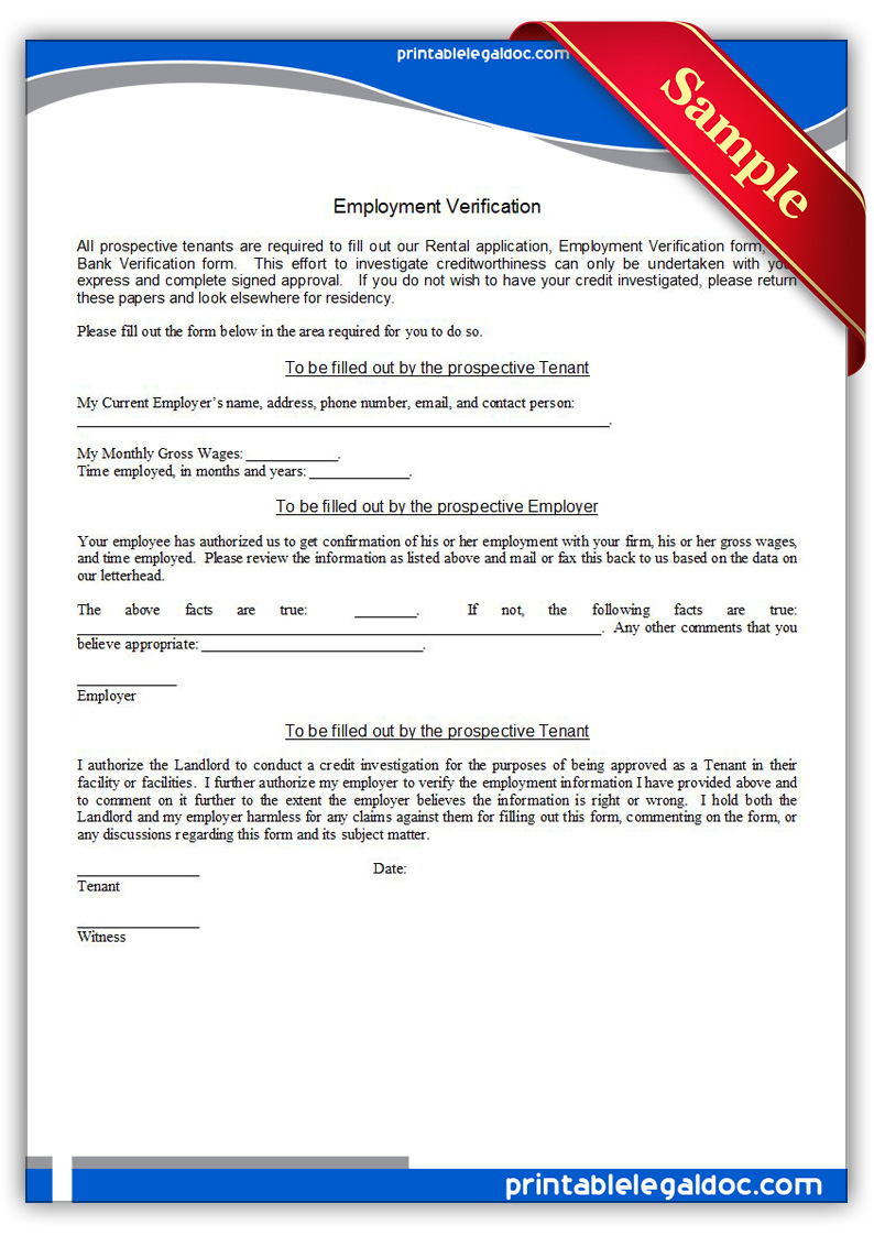 Free Printable Employment Verification Form ...  Landlord Employment Verification Form